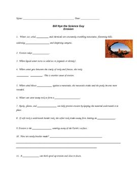 this 17 question worksheet provides a way for students to follow along with the bill nye erosion. Black Bedroom Furniture Sets. Home Design Ideas