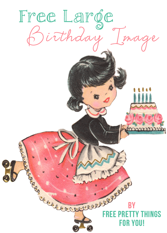 Free Graphics Pretty Retro Birthday Girl Clip Art Retro birthday