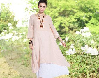 4094c214bbac Anysize retro fake two piece soft linen & cotton dress plus size dress plus  size tops plus size clothing spring summer dress clothing Y82