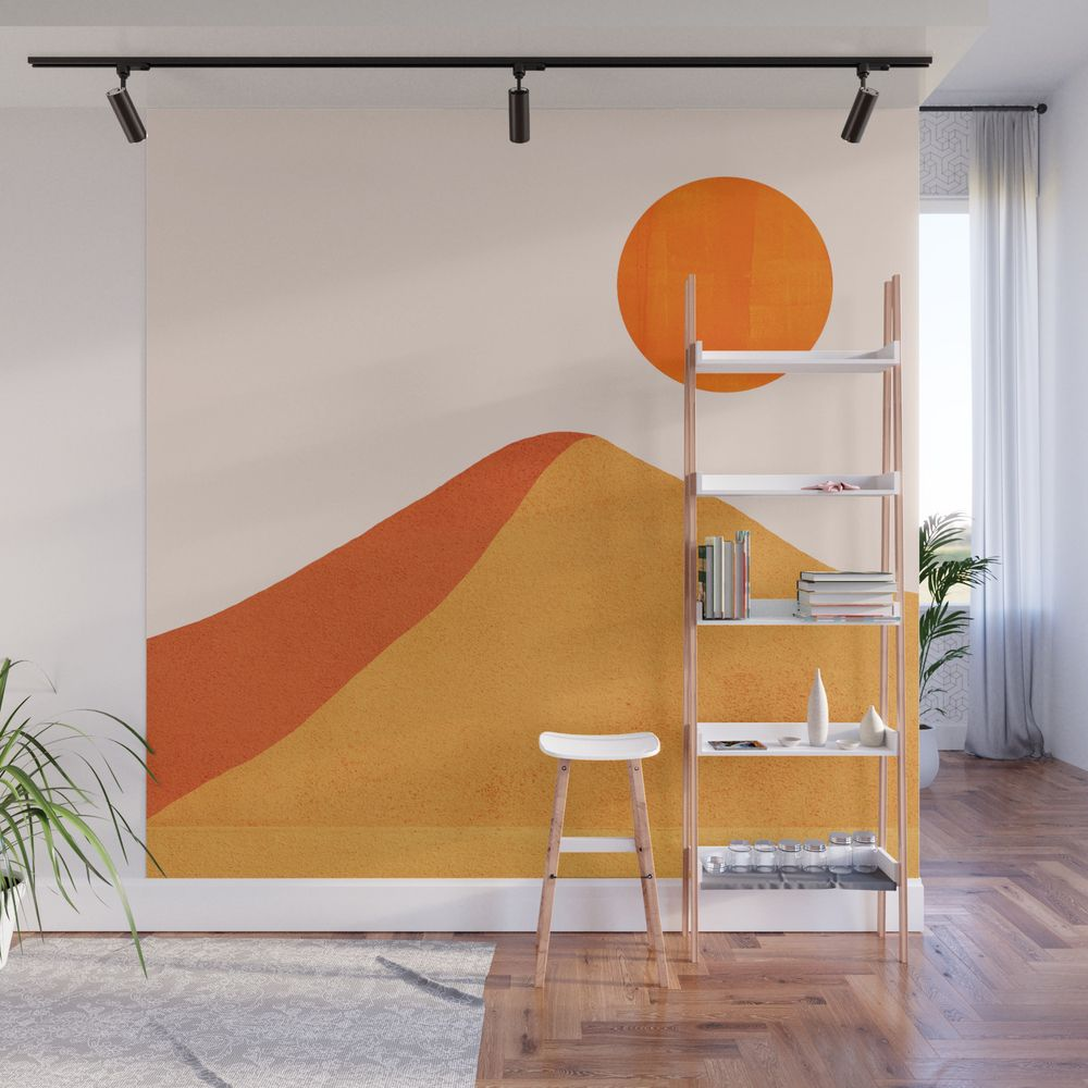 Abstraction Mountains Sun Minimalism 01 Wall Mural By