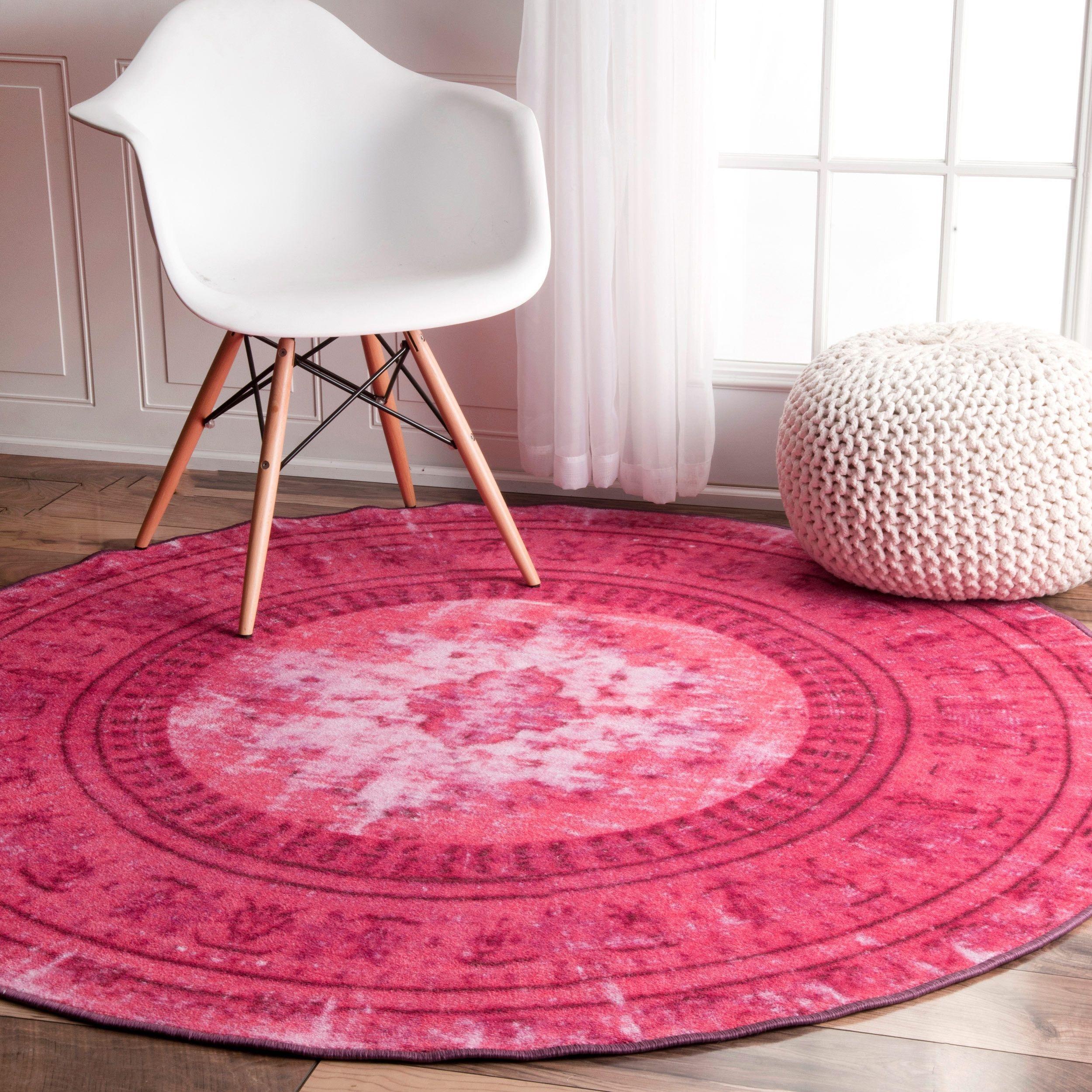 round pink rug. NuLOOM Vintage Inspired Adileh Overdyed Pink Round Rug (5\u00275 Round) (Pink S