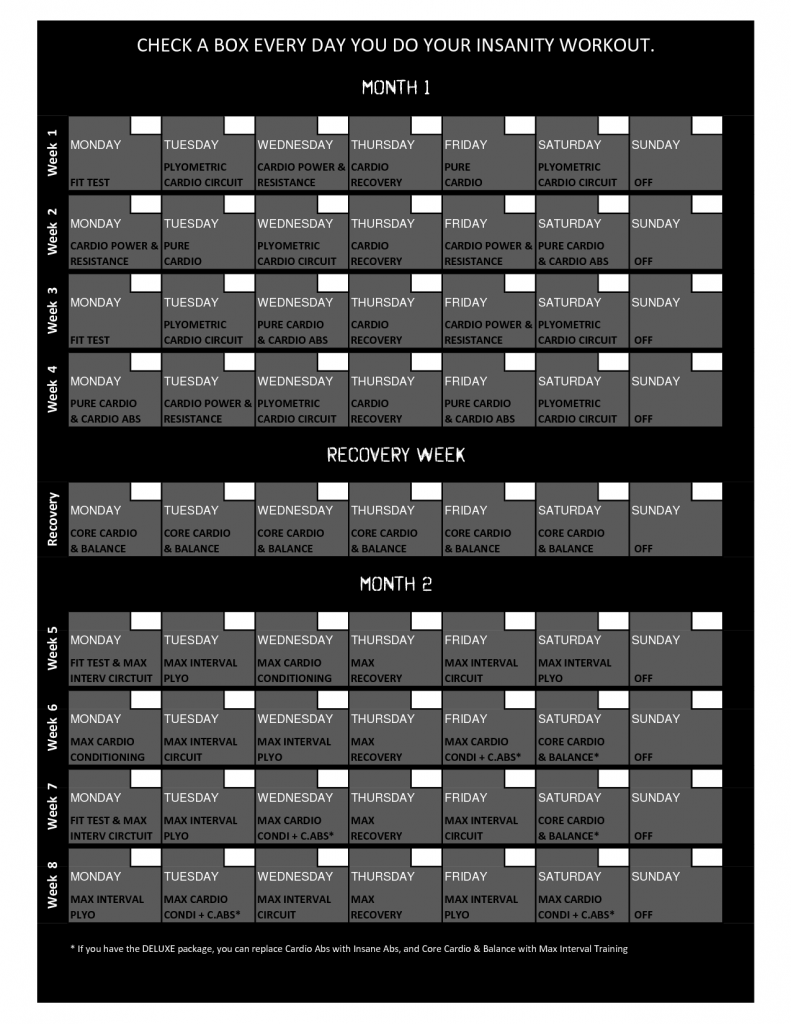 Shaun T Insanity Workout Calendar  Insanity Schedule  Fitness