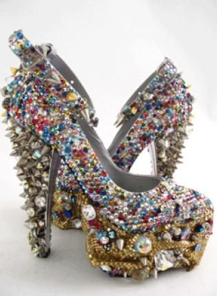 Spiked Out Crystal Stripper High Heel Shoes. I would probably never wear these, but I just like to look at them.