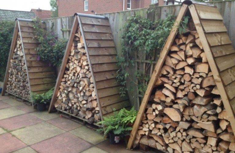 Triangle Shaped Diy Firewood Storage Outdoor Firewood Rack
