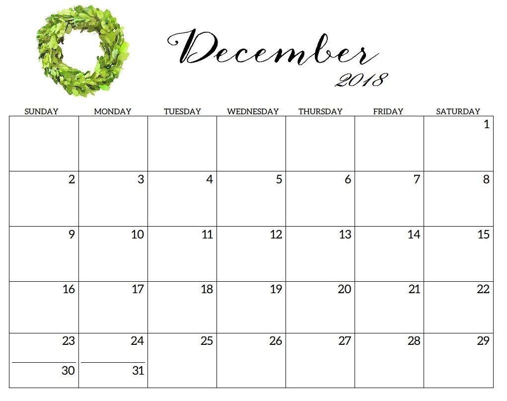 December 2018 Calendar A4 With Images Calendar Printables Dec