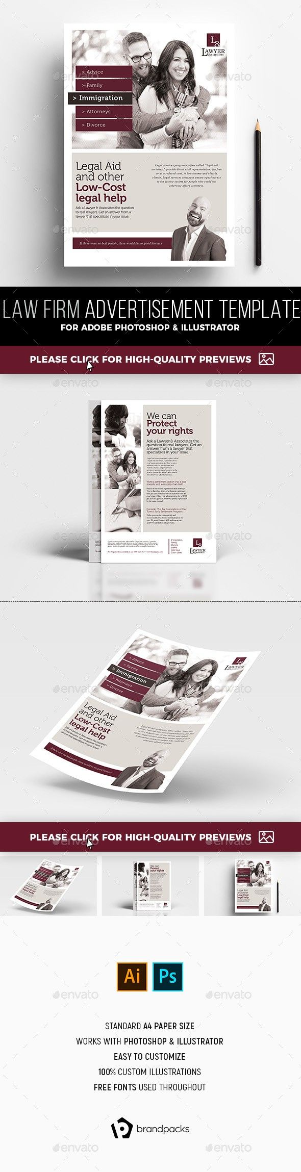 a4, advert, advertisement template, advocate, ai, attorney