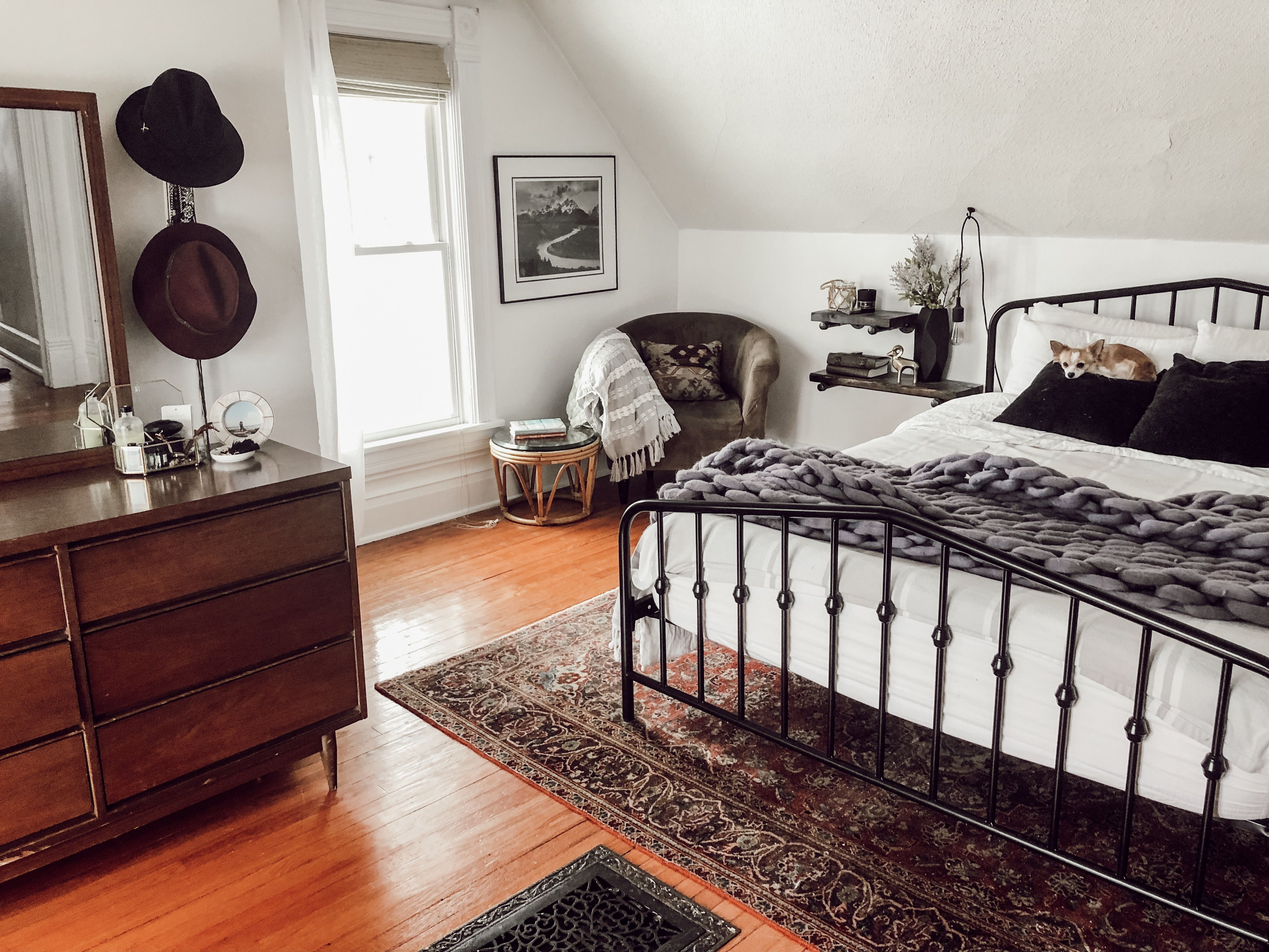 Funky Victorian Home Tour White Bedroom With Black Metal Bed Frame Vintage Rug Floating Shelf Nightstands And A Sitti Black Bed Frame Home Victorian Bedroom [ 3024 x 4032 Pixel ]