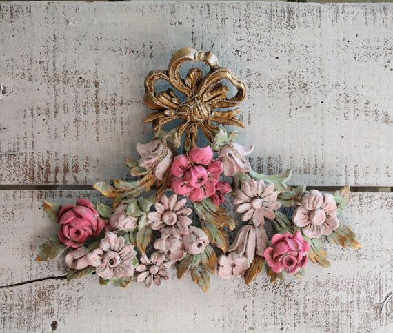 Wall Art Vintage Floral Wall Plaque Wall Decor Wall Hanging Wall Accent French Country Upcycled Hand Painted Distressed Home Decor Decoration Belles Choses