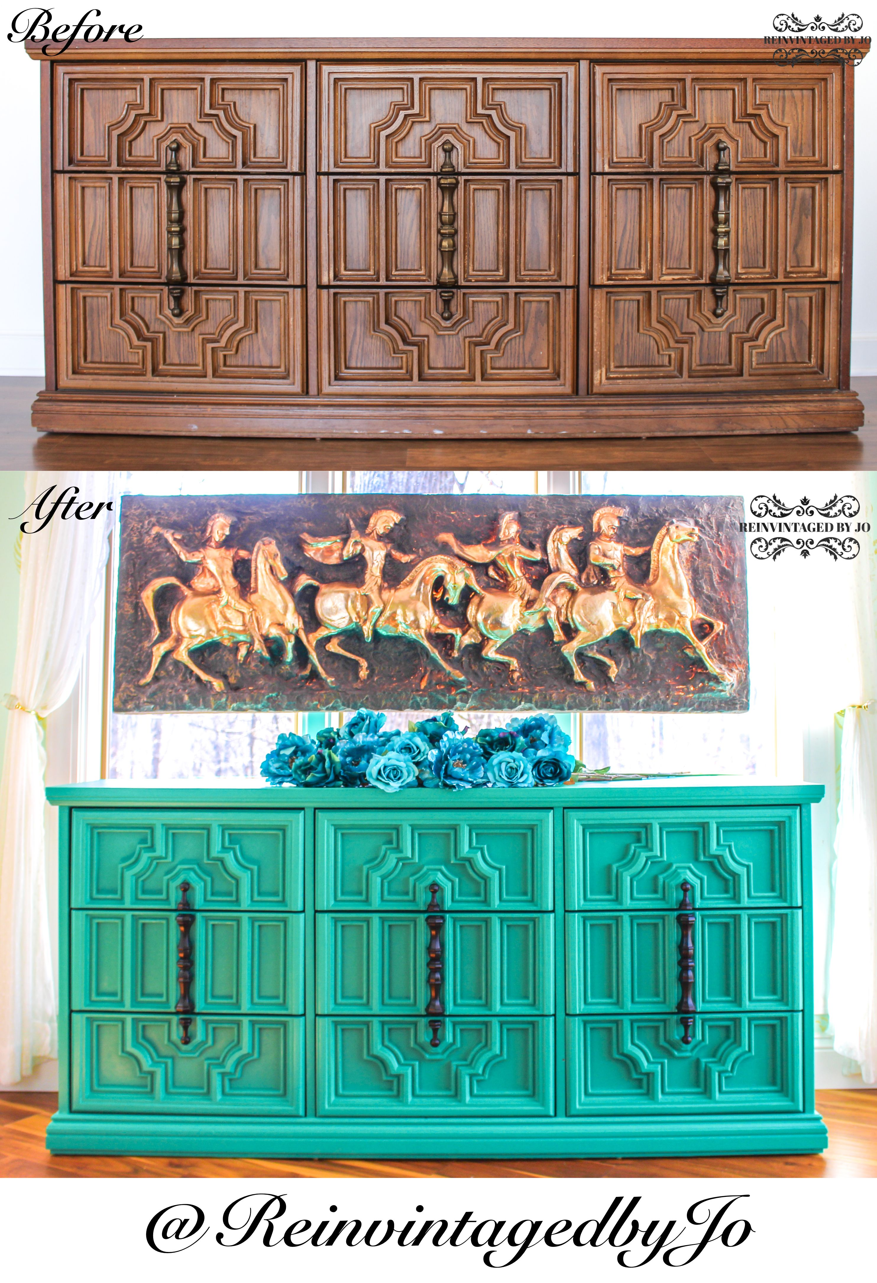 Reinvintaged by Jo handpainted nine drawer vintage Bassett dresser