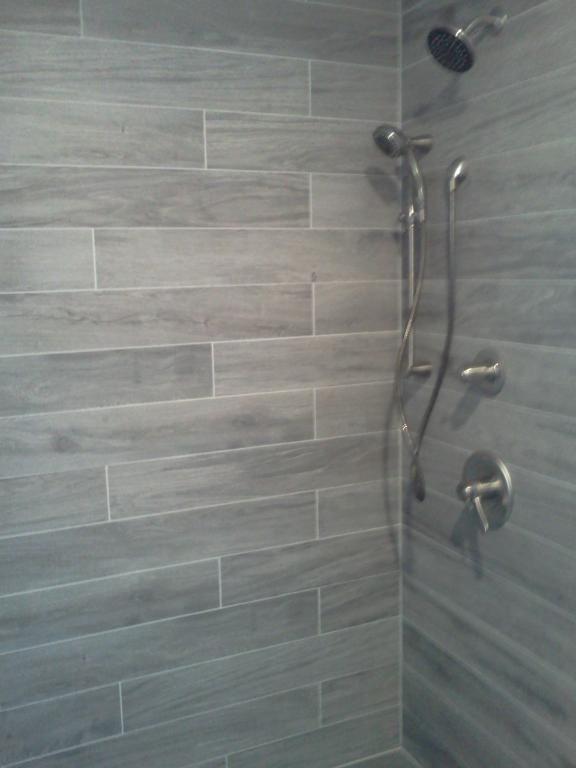 wood tile shower bathroom floor tiles