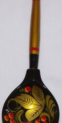 Vintage HandPainted Wood Spoon Russia -USSR Great Folk Art Collectible @Raquel Anglés Esquinas