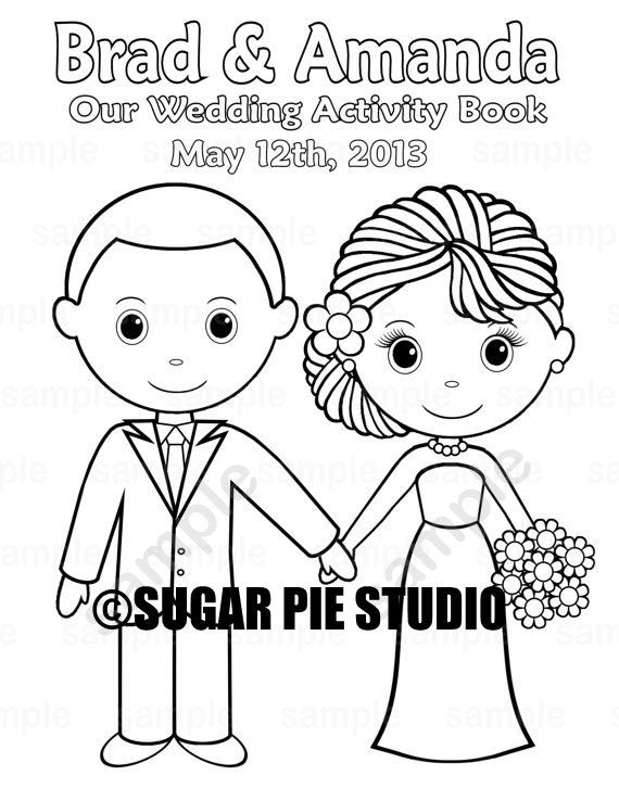 Printable personalized wedding coloring activity book favor kids 8 5 x 11 pdf or jpeg template