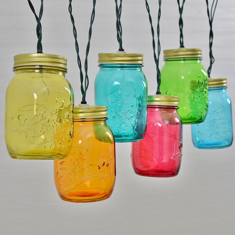 lighting ideas for your next diy backyard patio decorations multi color mason jar string lights - Multi Cafe Decoration