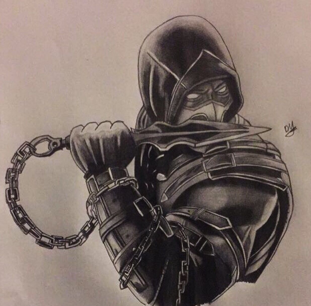 Scorpion from Mortal Kombat drawing | Character drawings ...