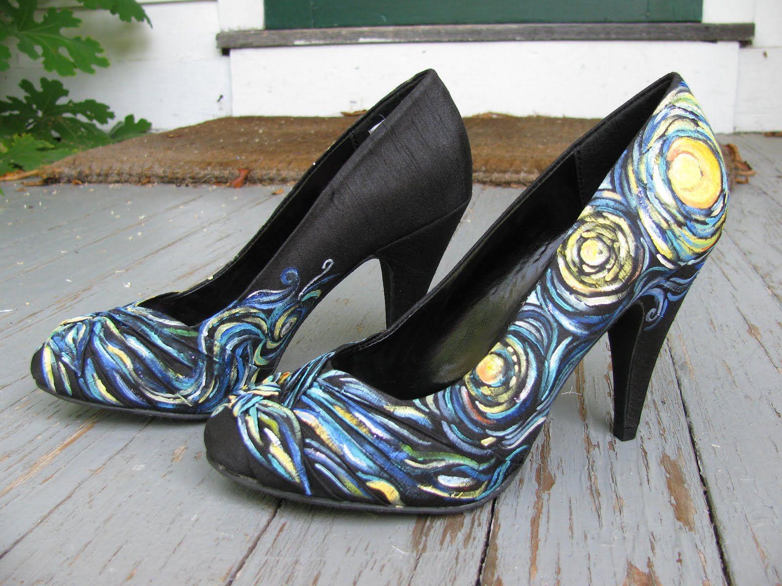 Painting plain black high heels.