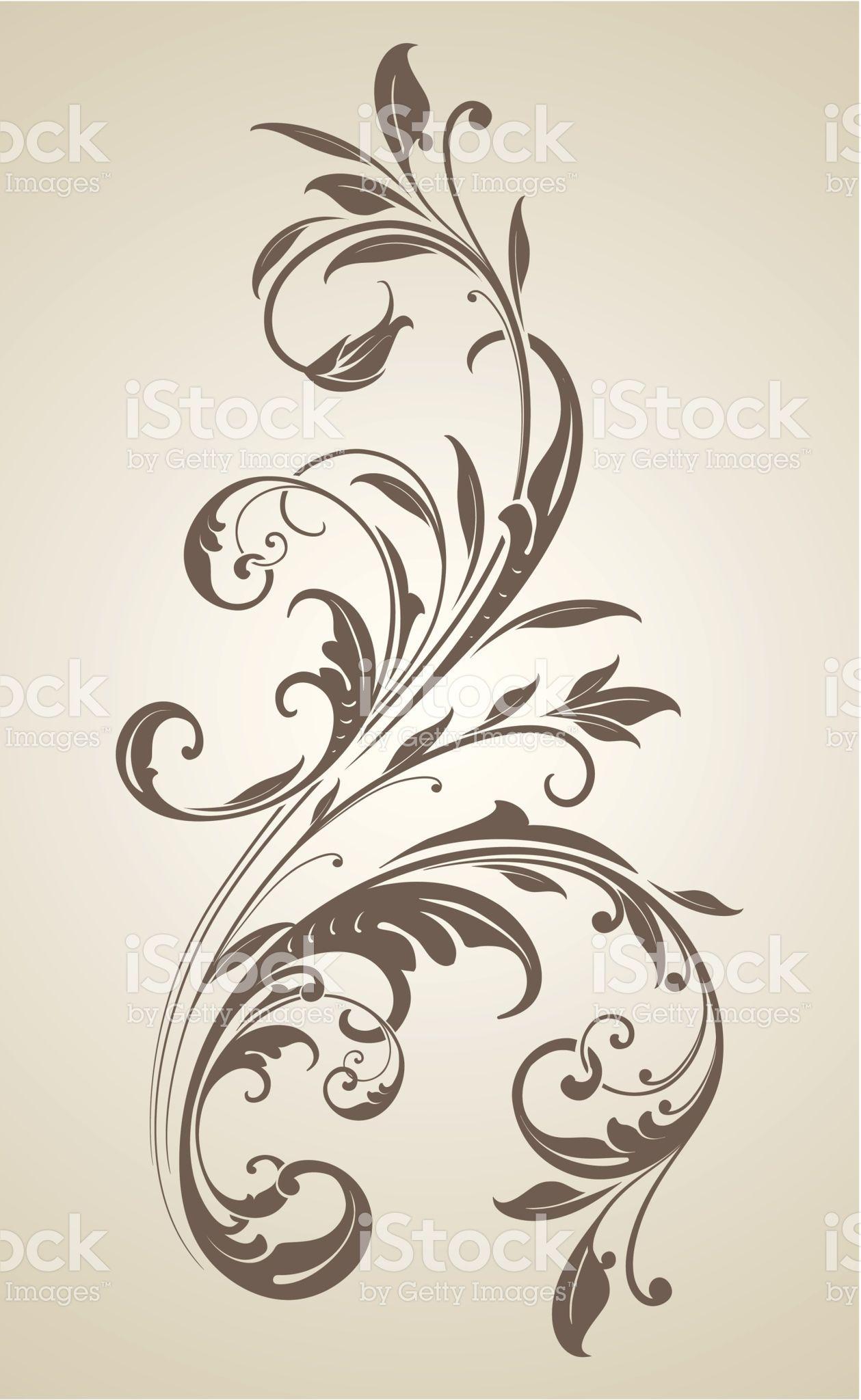 Floral Leaf Scrollwork Ornament Royalty Free Stock Vector Art Filigree Tattoo Baroque Tattoo Filagree Tattoo