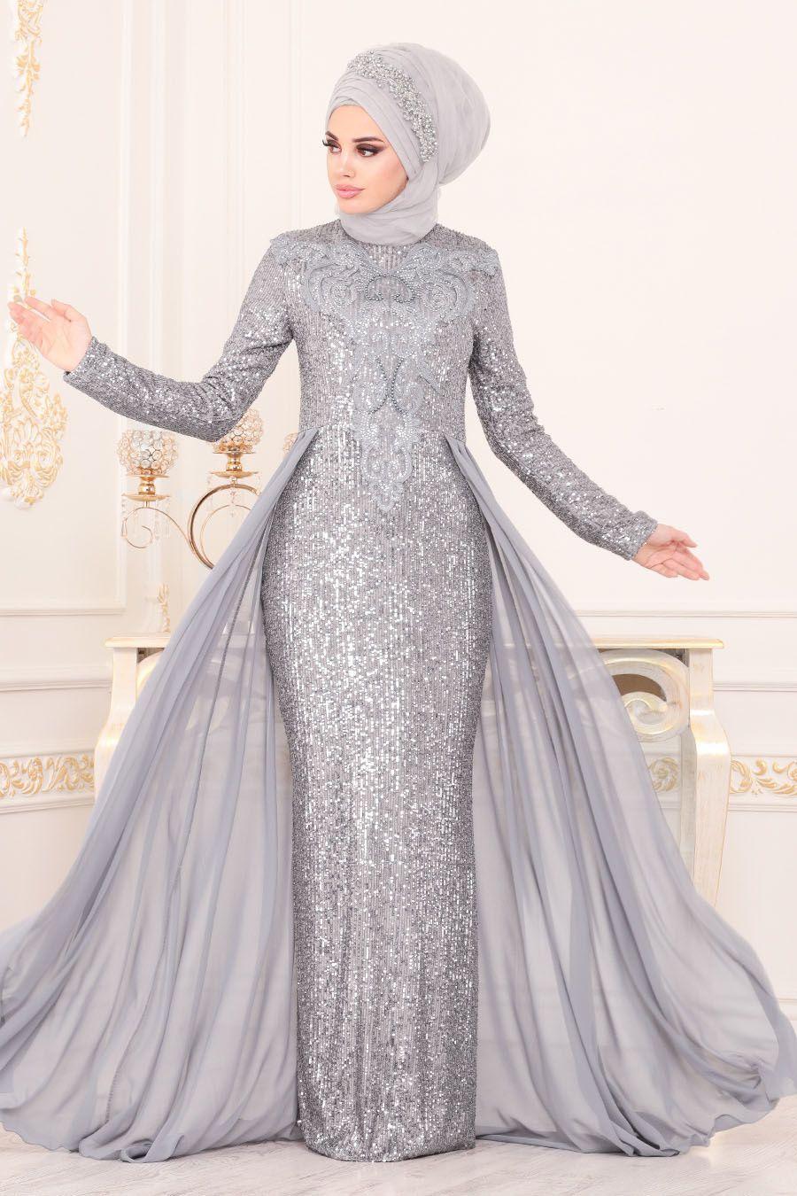 Nayla Collection Pul Payetli Gri Tesettur Abiye Elbise 25724gr Tesetturisland Com The Dress Elbise Moda Stilleri