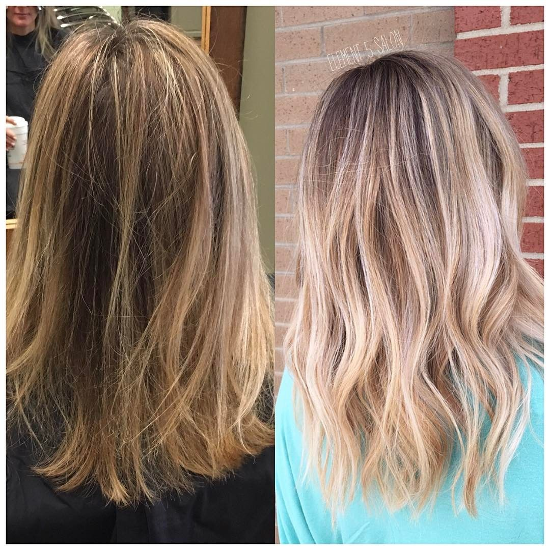 Before And After Transformation To Bright Ash Blonde Balayage