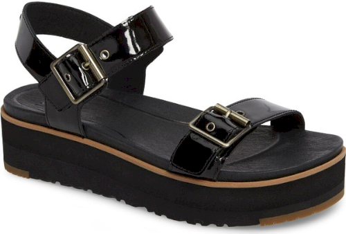 3f46b10b4197 Ugg Angie Platform Sandal in Black. A super-chunky platform sole updates  the look of a classic quarter-strap sandal outfitted with an Imprint by UGG  ...