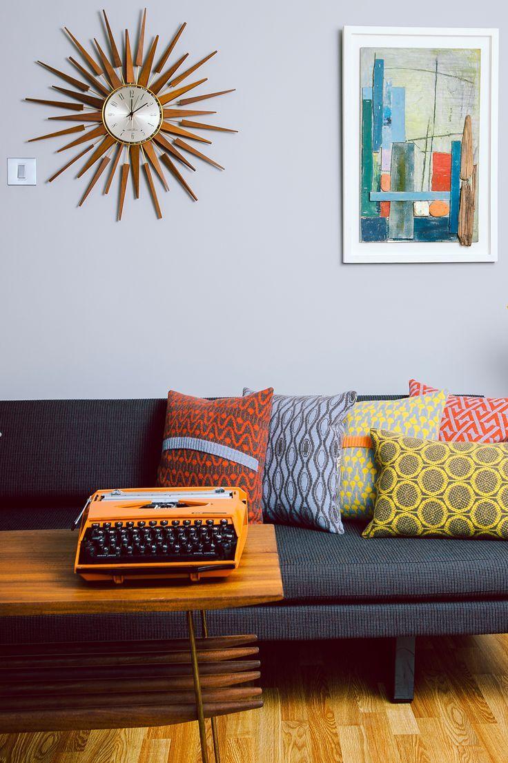 pleasurable designer sofa throws. Mid century modern living room retro clock  typewriter Home Style Pinterest