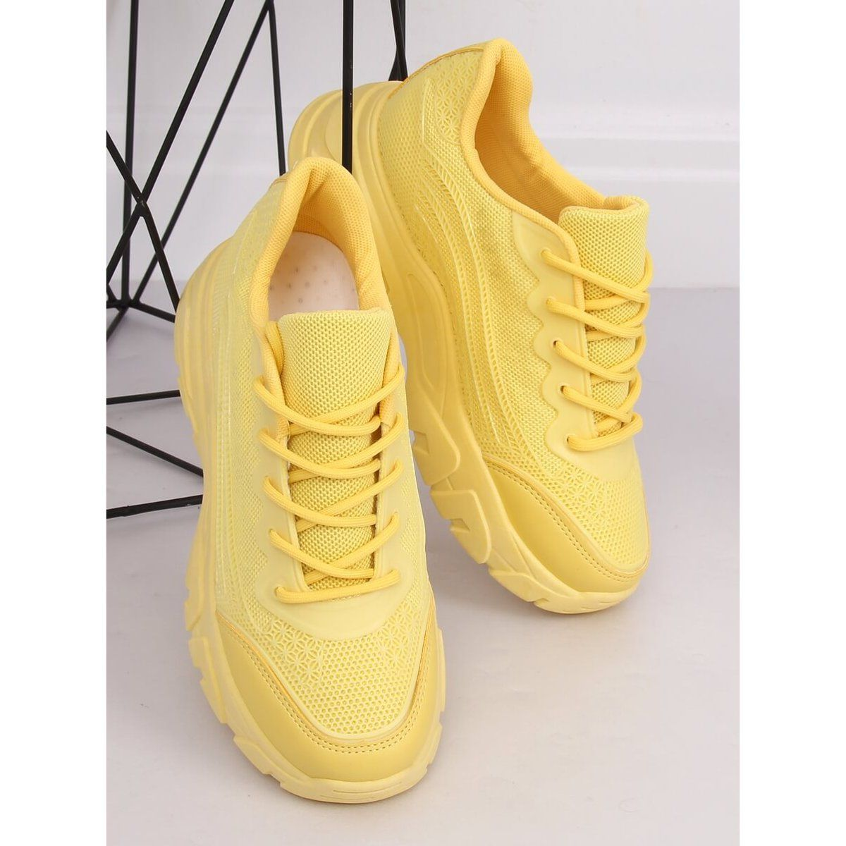 Buty Sportowe Zolte Dml902 Yellow Sneakers White Sneaker Shoes