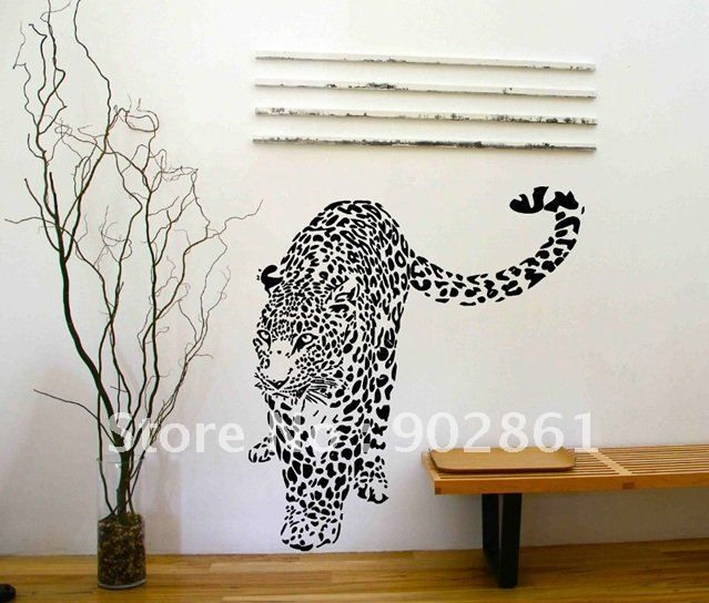 Leopard Cheetah Wildlife Animal Art Vinyl Wall Decals Wall Stickers Custom  Gold Glitter Cheetah Print Wall