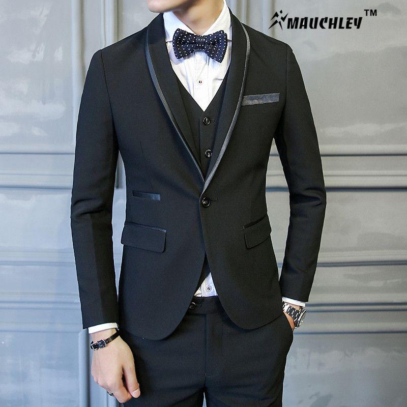 2017 Chinese Slim Fit Wedding Suit For Men 3 Pieces /Set (Jacket + ...