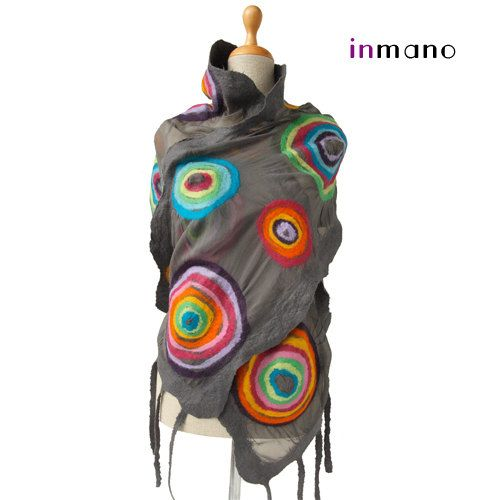 felted scarf gray multicolor circles rainbow scarf silk by inmano