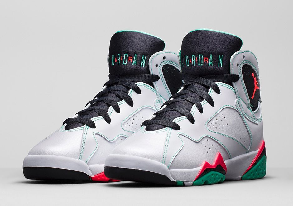 Release reminder for the White/Infrared23-Black-Verde Girl's Air Jordan 7  Retro
