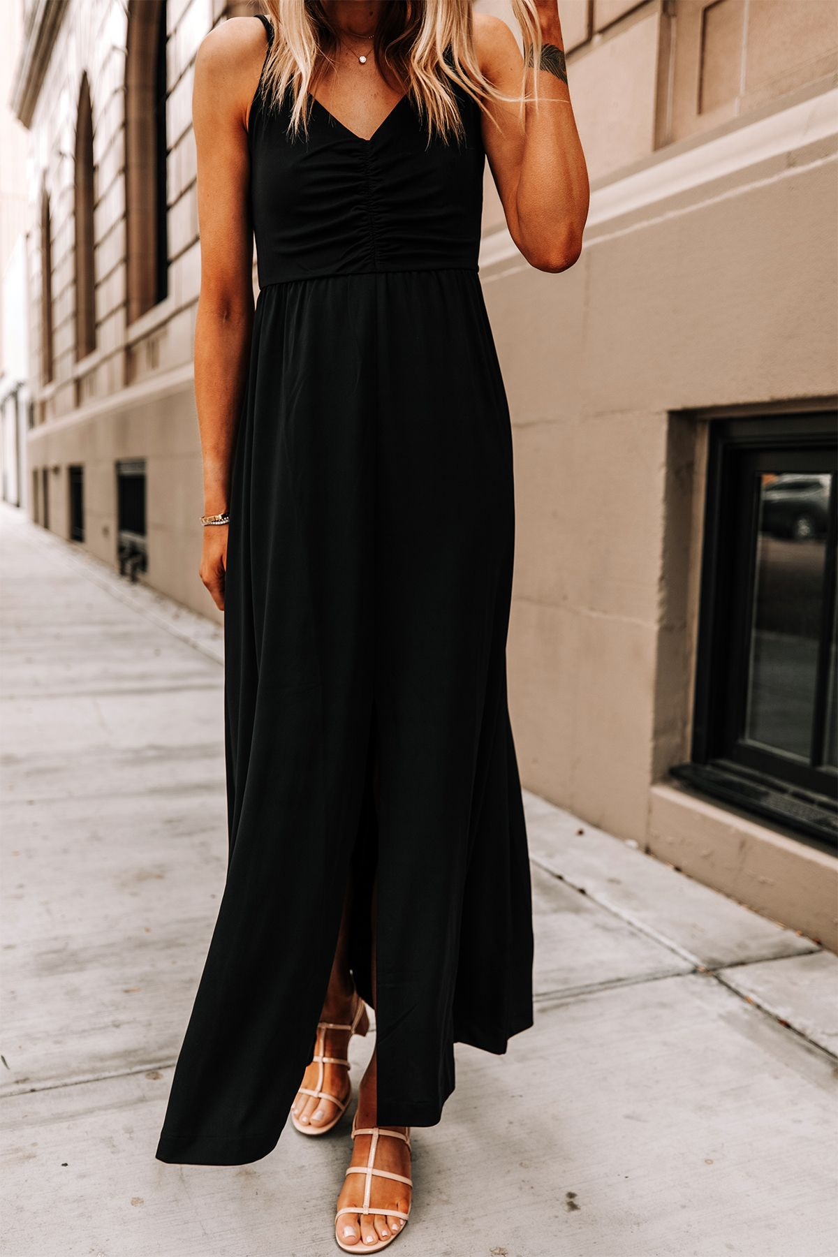 Fashion Jackson Wearing Banana Republic Black Maxi Dress Tan Sandals 2 Summer Dresses Casual Summer Dresses Casual Dress Outfits [ 1800 x 1200 Pixel ]