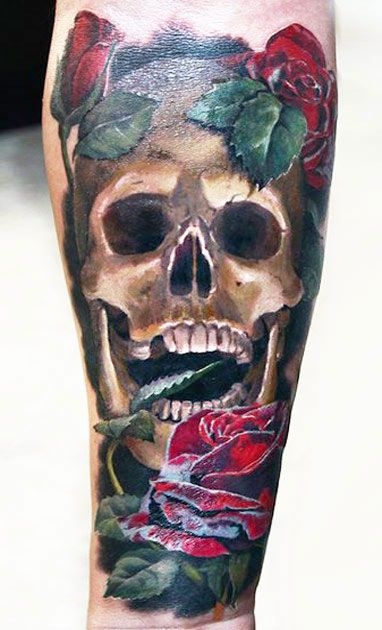 Realistic Skull Tattoo by Valentina Ryabova | Tattoo No. 11846