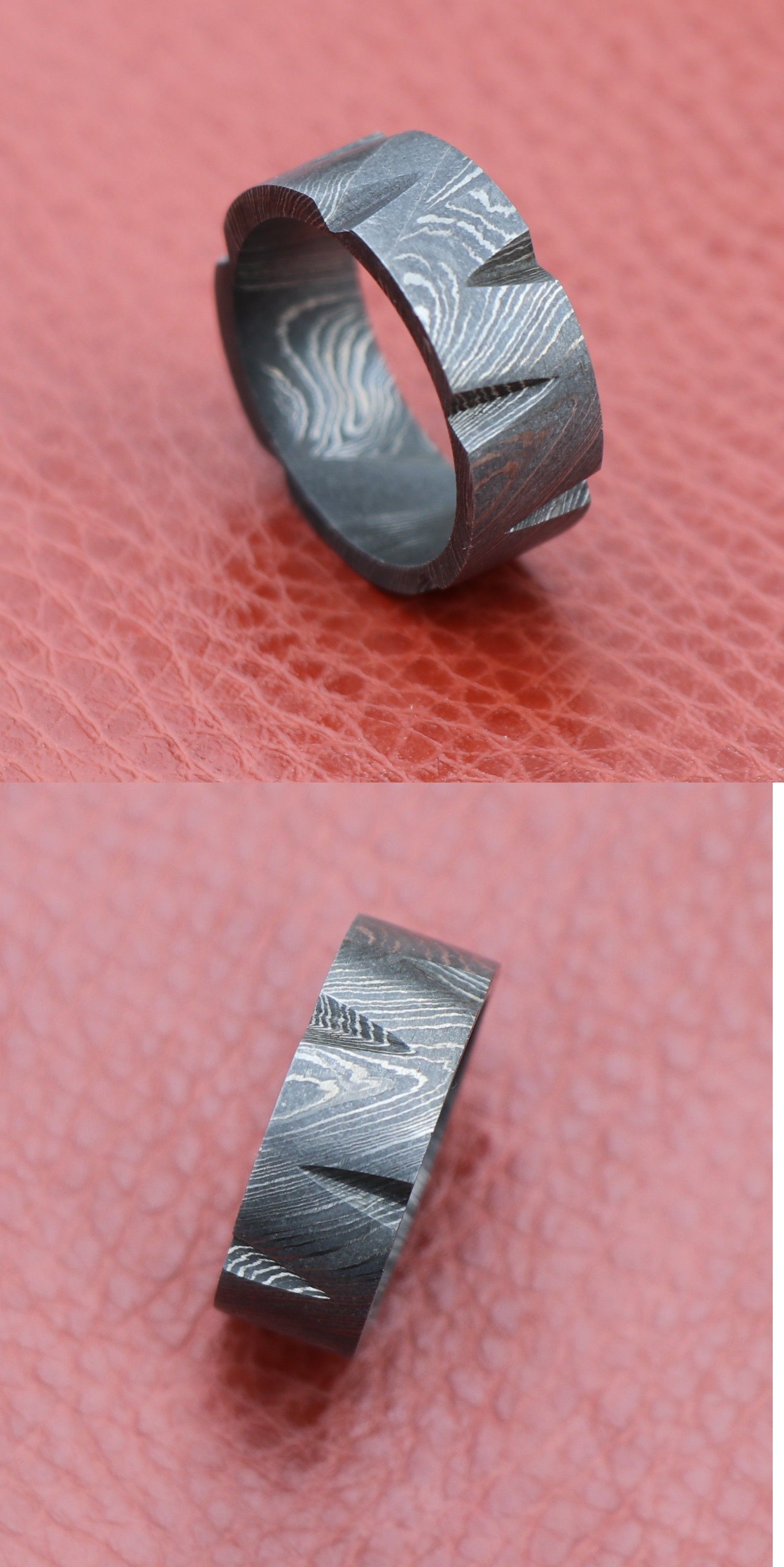 Rings 137856: Handmade Full Damascus Steel Band Spaded Pattern ...