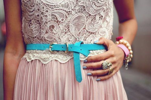 Tie on a turquoise belt to punch up pastels #accessories #belt #bracelets #inspiration