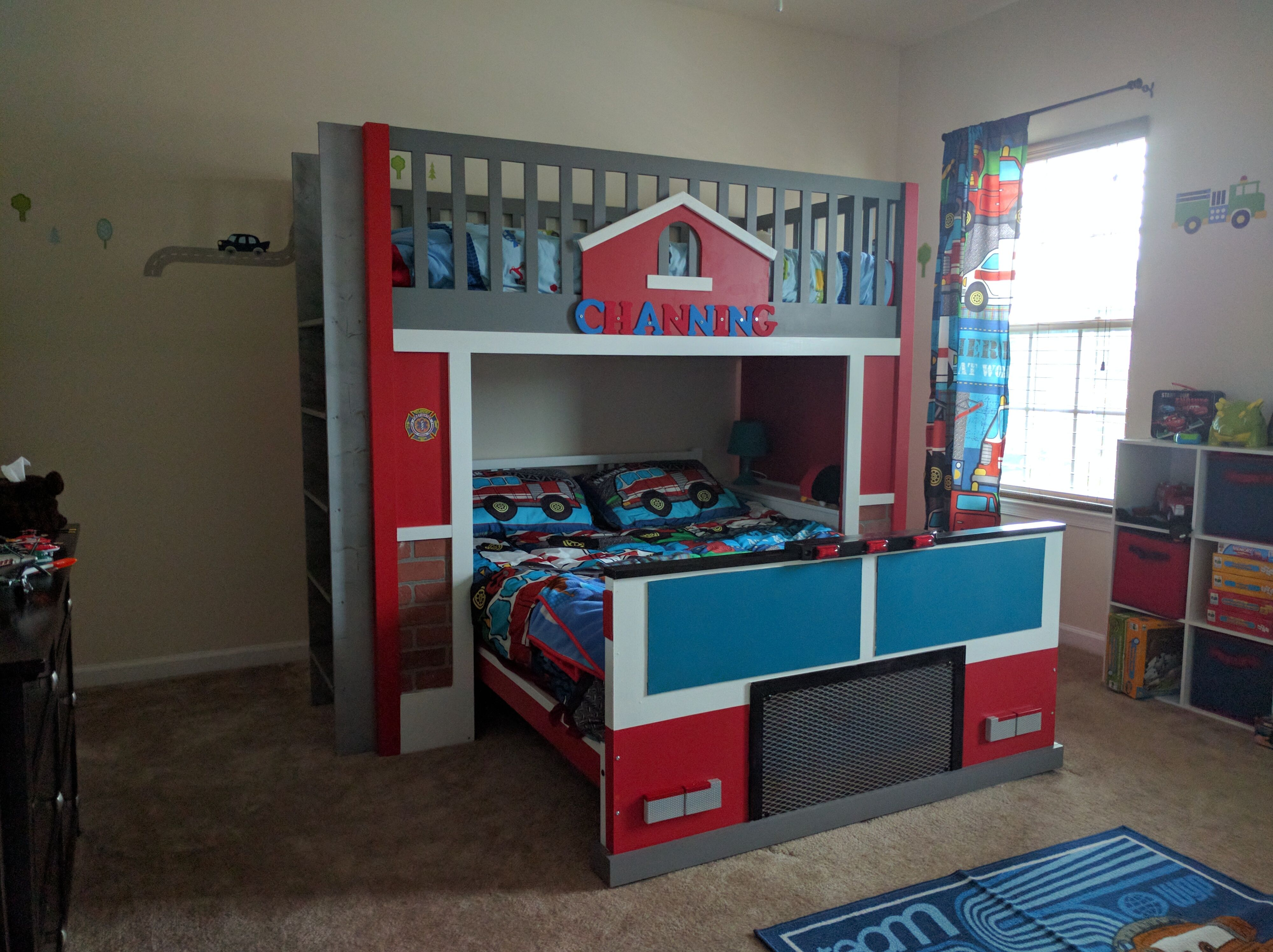 Fire Station With Fire Truck Bunk Bed Do It Yourself Home Projects