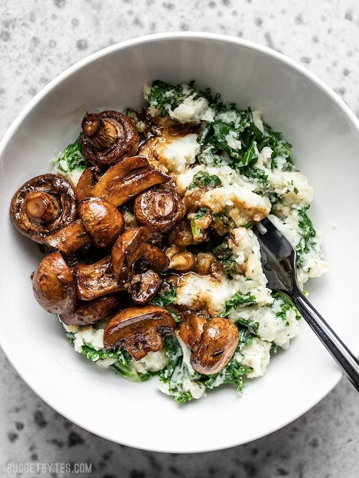Balsamic Roasted Mushrooms with Herby Kale Mashed