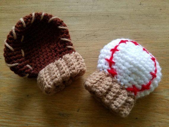 Crochet Baseball Glove Mittens Mitts Photo Prop Newborn Infant