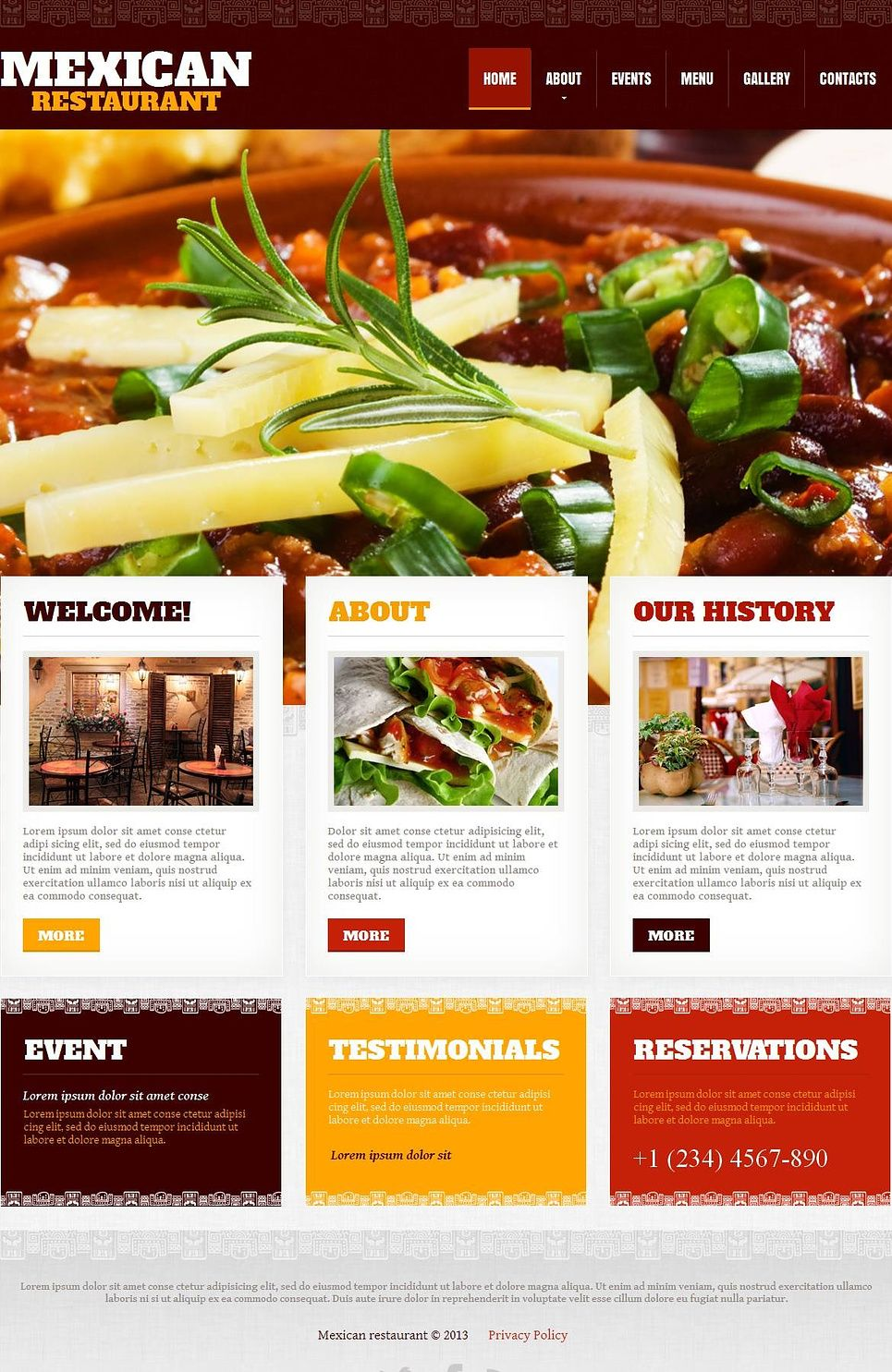 Mexican Restaurant Moto Cms Html Template 45187