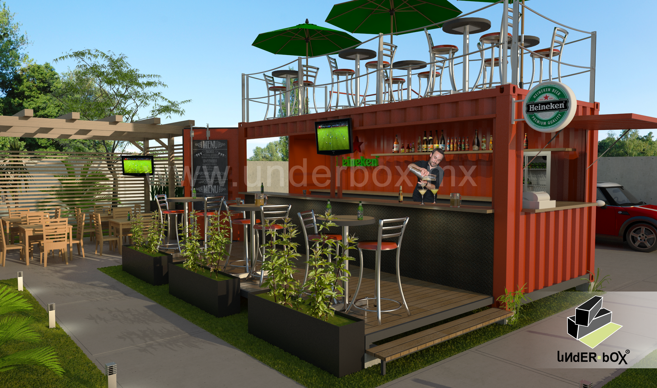 Box 01 restaurante bar terraza superior underbox for Terraza bar
