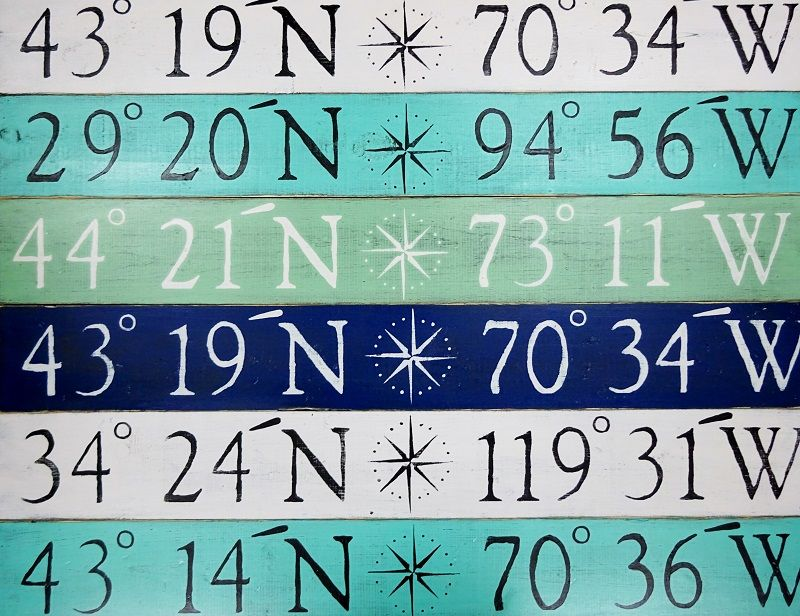 "Custom Compass Rose Latitude / Longitude - 43"" x 6"" Sign: Beach Decor, Coastal Decor, Nautical Decor, Tropical Decor, Luxury Beach Cottage Decor"