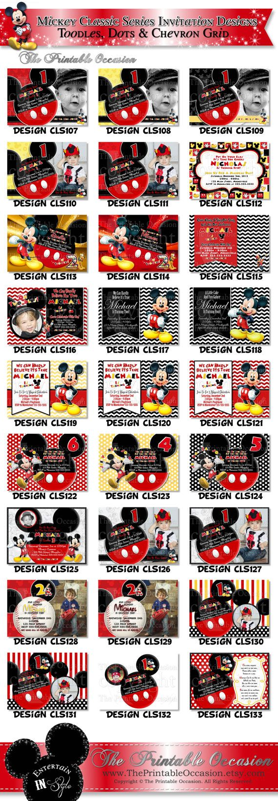 HUGE SELECTION Mickey Mouse Red Yellow Black Birthday Invitation, Great for First Second Third Fourth or Fifth Birthdays, Mickey Invitation