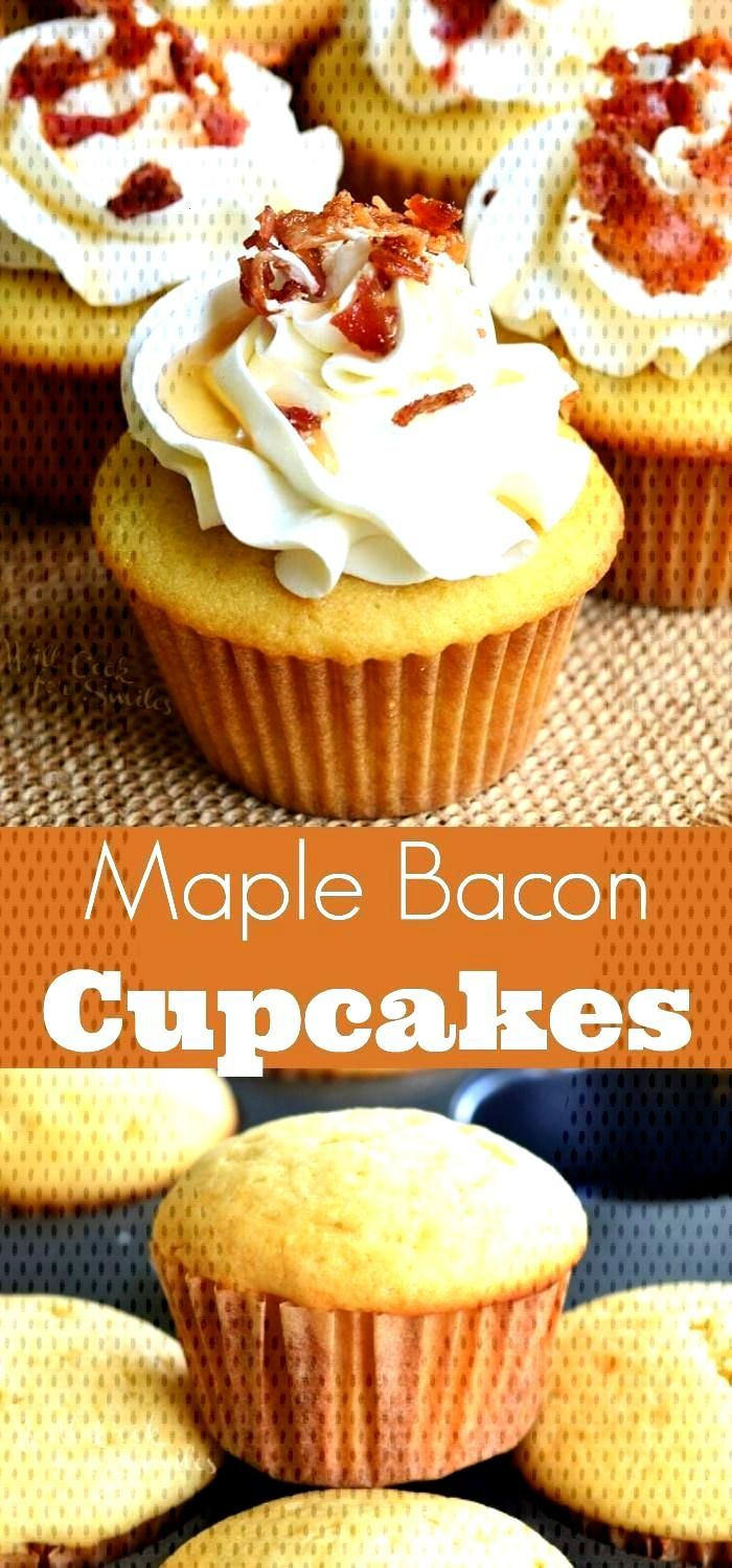 Maple Bacon Cupcakes. Soft maple cupcakes with a hint of bacon topped with maple buttercream frosti