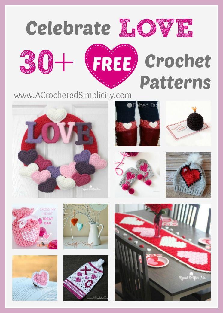 30 Free Crochet Patterns To Celebrate Love Pinterest Free