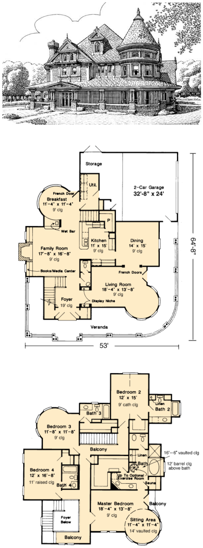 Country Farmhouse Victorian House Plan 95539 | Country farmhouse ...