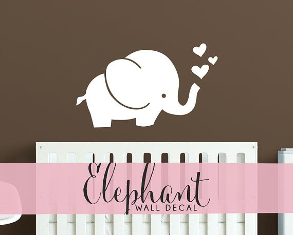 Cute Elephant Wall Decal   Baby Room Decal Hearts Wall Sticker   WAL A155