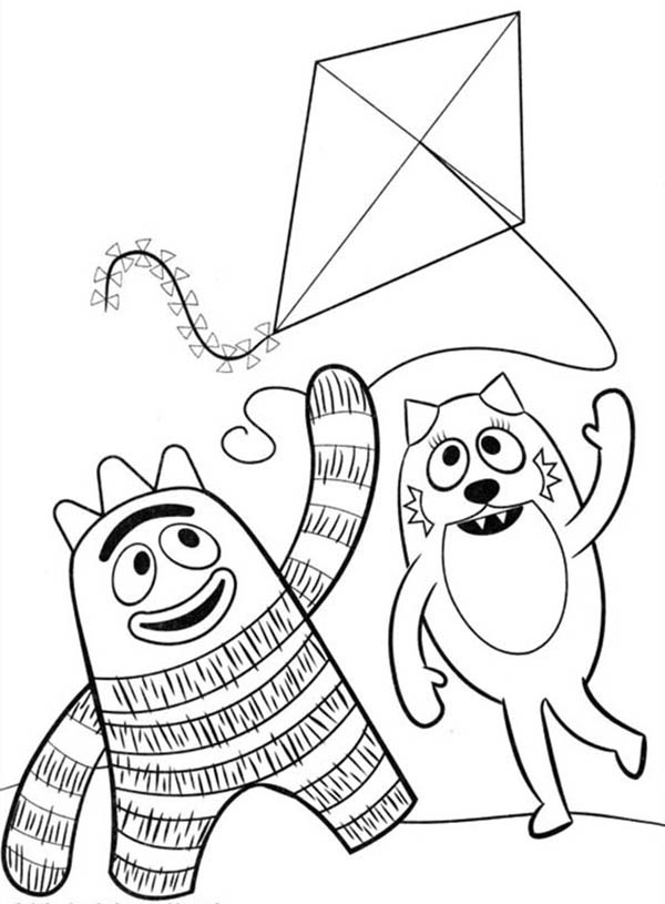 Brobee And Toodee Playing Kite In Yo Gabba Gabba Coloring Page Coloring Sun Printable Christmas Coloring Pages Coloring Pages Disney Princess Coloring Pages