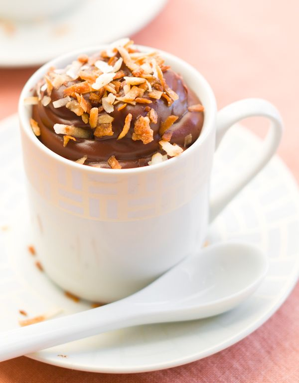Coconut Chocolate Pudding with Toasted Coconut