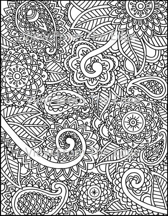 Mehndi Patterns Pdf : Mehndi coloring page henna adult printable pdf by