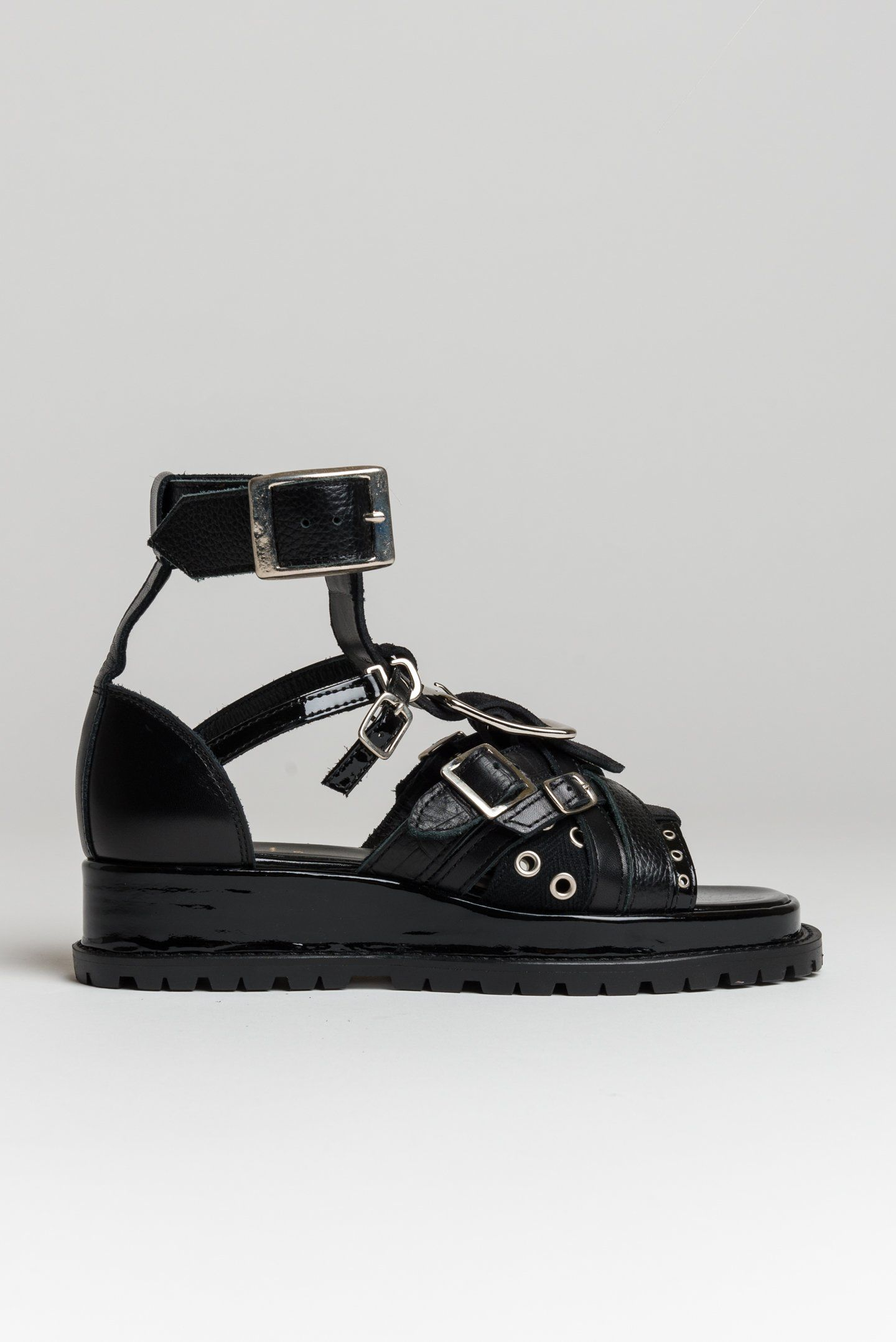 eba67d9b3259 Sacai Cowhide Buckle Sandal in Black