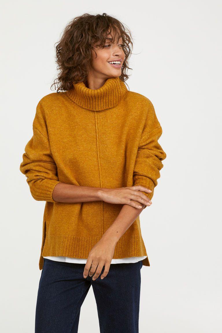 Knit Turtleneck Sweater Mustard Yellow Ladies Hm Us 2 2018