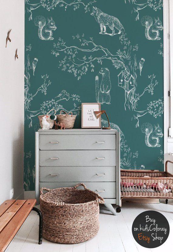 Animaux de la forêt, oiseaux sur les branches, furet, fond d'écran vert et blanc, décalque mural pour les enfants chambre, auto-adhésif #143